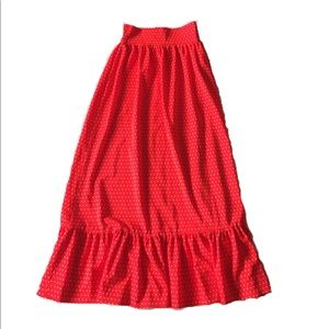 Vintage 70s Polka Dot High Waist Ruffle Maxi Skirt